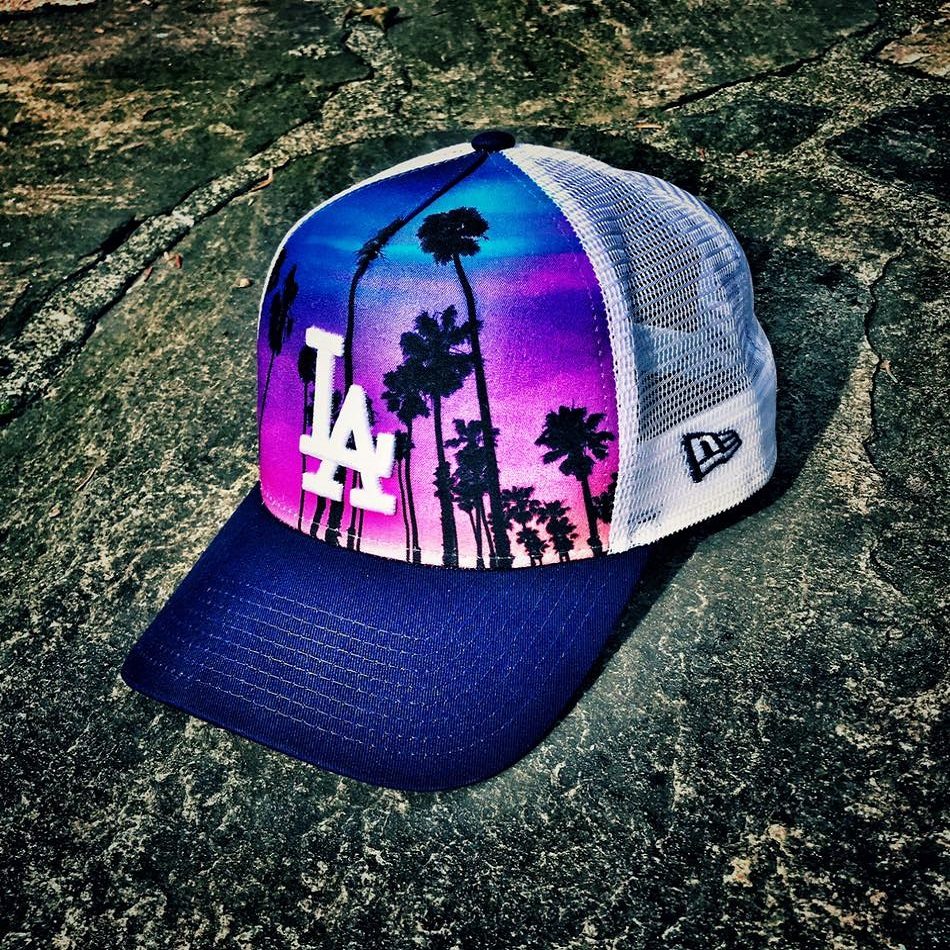 New Era Purple/white/blue West Coast A Frame Trucker