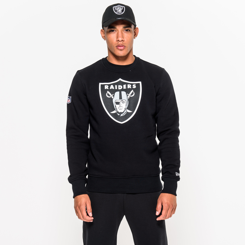 Oakland Raiders Team Logo Black Crew Neck