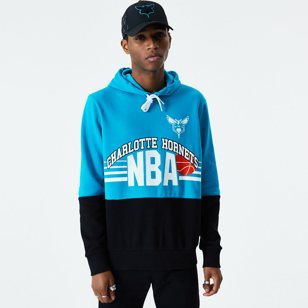 Charlotte Hornets Throwback Colour Block Blue Hoodie