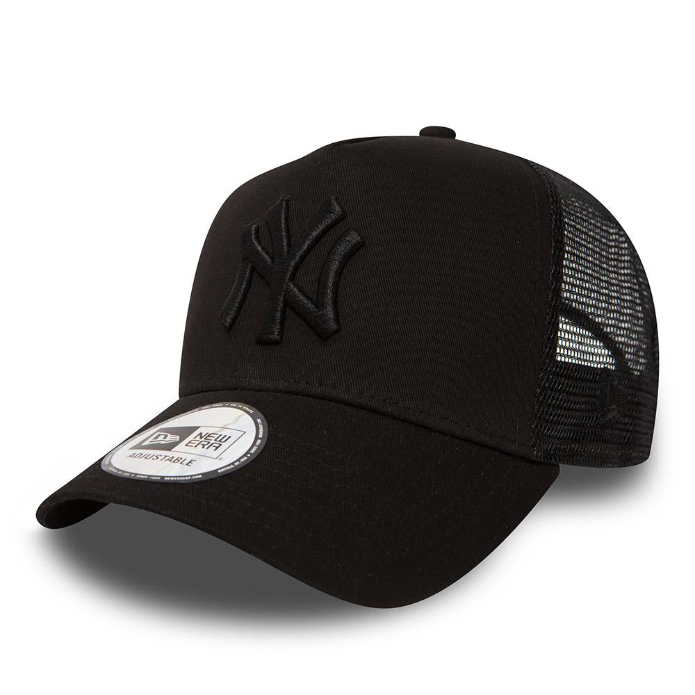 0da30bad174 New York Yankees Clean A Frame Black on Black Trucker