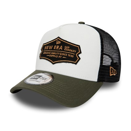 f3bbe8cf032 New Era Distressed White and Olive A Frame Trucker