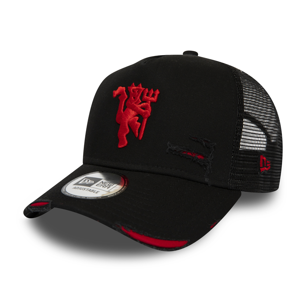 Manchester United Distressed Black A Frame Trucker New Era Cap Co