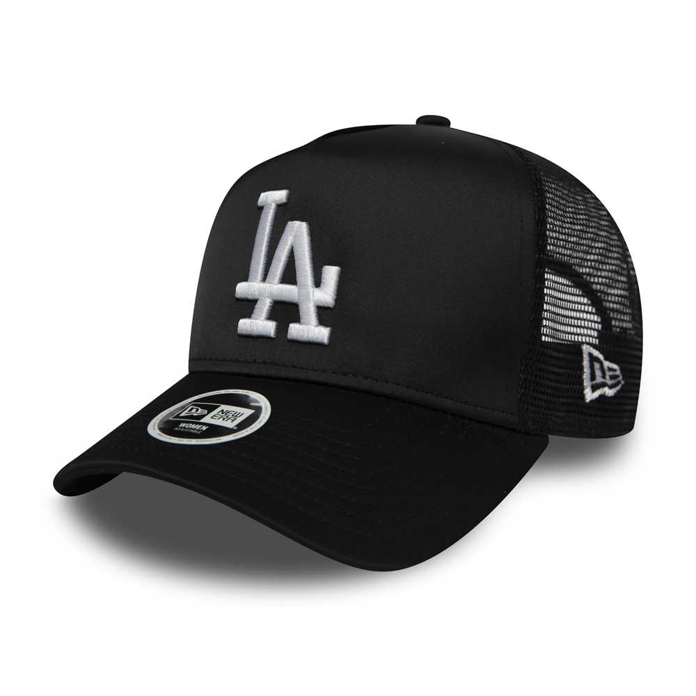 Los Angeles Dodgers Womens Black Satin A Frame Trucker