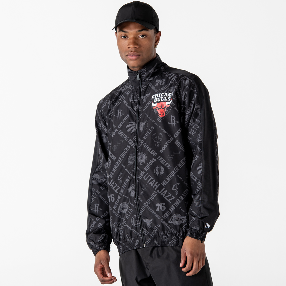 Chicago Bulls NBA Print Black Track Jacket