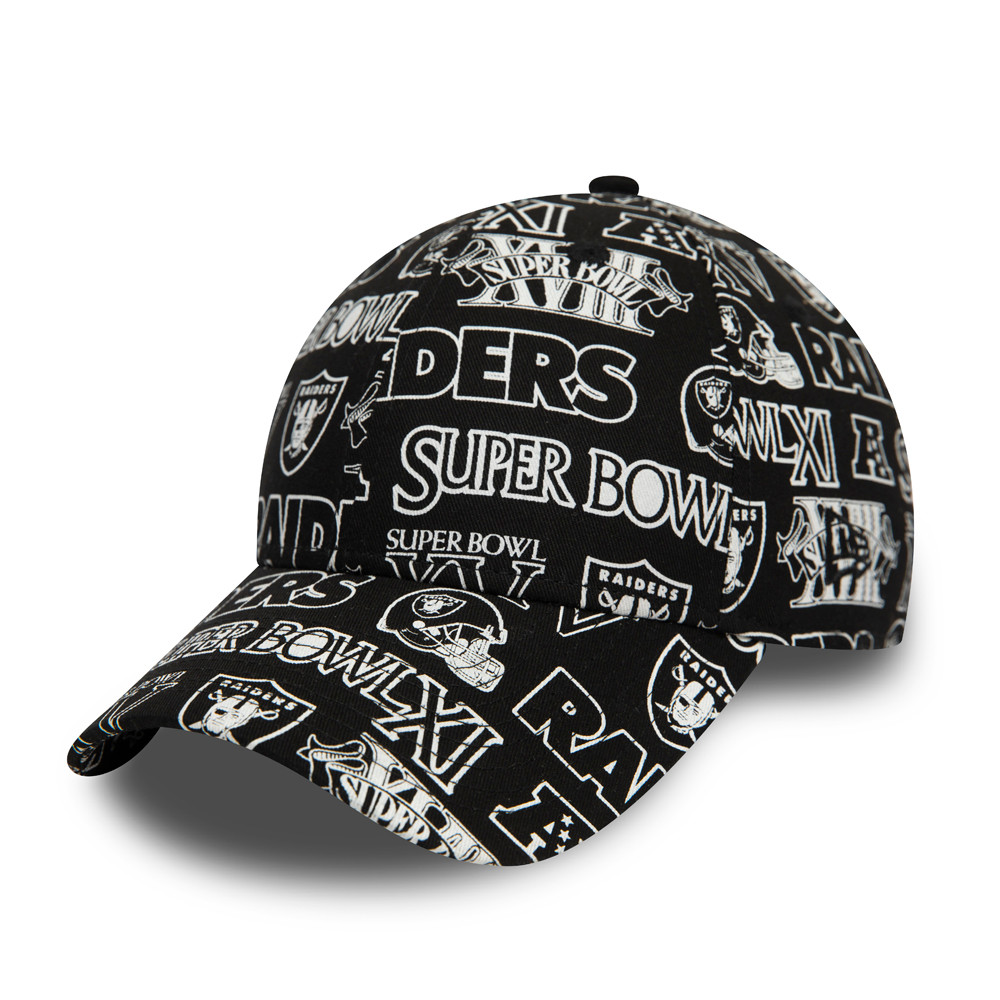 Raiders All Over Print Logo Black 9FORTY Cap