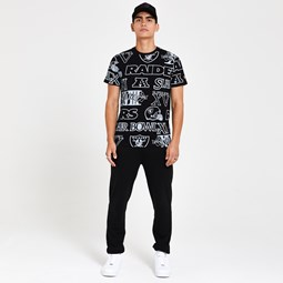 Raiders All Over Print Black T-Shirt