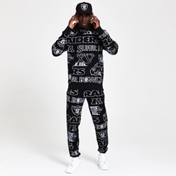 Raiders All Over Print Black Hoodie