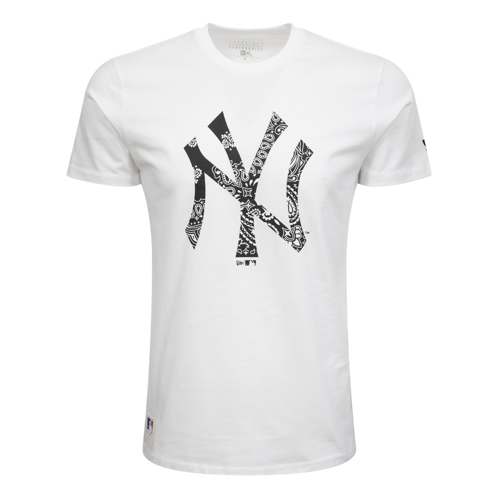 New York Yankees Paisley Print White T-Shirt