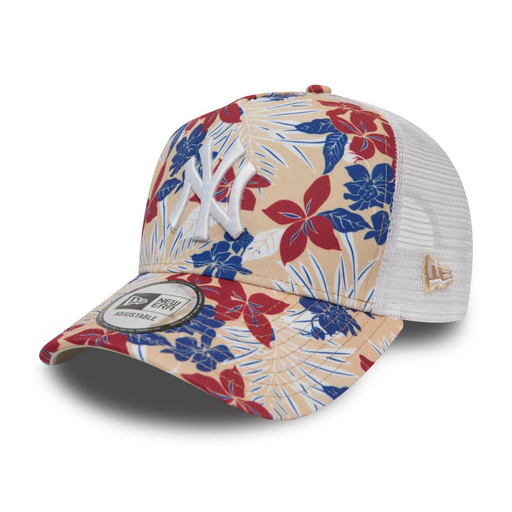 Andongnywell Flower Pattern Mesh Baseball Cap Floral Print Trucker Cap Womens Adjustable Ponytail Messy Ponycaps